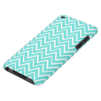 Teal aqua whimsical zigzag chevron pattern case iPod touch cases