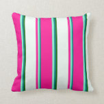 [ Thumbnail: Teal, Aquamarine, Deep Pink, Mint Cream & Green Throw Pillow ]