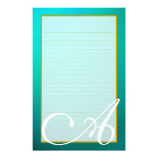 Teal Aquamarine Monogram Fine Lined Stationery