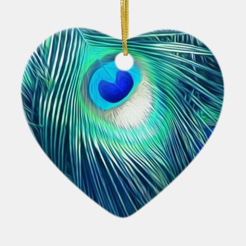 Teal Aquamarine Peacock Feather Ceramic Ornament