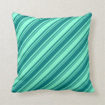[ Thumbnail: Teal & Aquamarine Stripes Throw Pillow ]