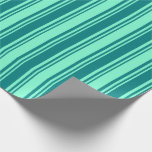 [ Thumbnail: Teal & Aquamarine Stripes Wrapping Paper ]