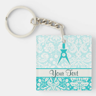 Teal Architect Square Acrylic Key Chains