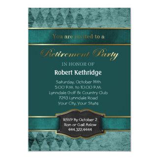 Teal Argyle Classic Retirement Party Invitations