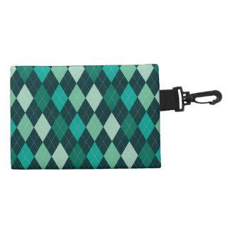 Teal argyle pattern accessory bag