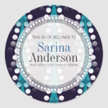 Teal Arrow Sparkle Pattern Gift Book label Sticker