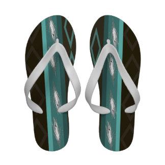 Teal Art Flip Flops