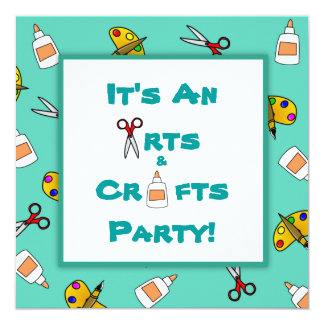 Teal Arts and Crafts Children's Birthday Party Card