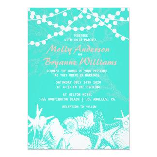 Teal Artsy Seashells String Lights Beach Wedding Card