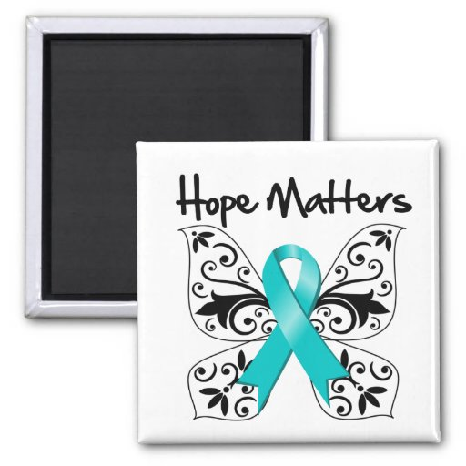 Teal Awareness Butterfly -  Hope Matters 2 Inch Square Magnet