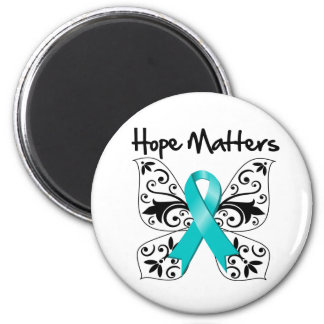 Teal Awareness Butterfly -  Hope Matters Magnet
