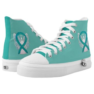 Teal Awareness Ribbon Angel Custom Design Shoes