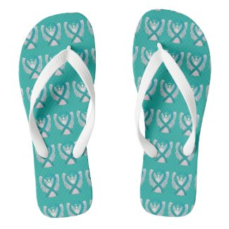 Teal Awareness Ribbon Angel Custom Flip Flops