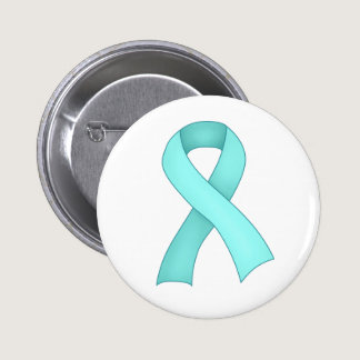 Teal Awareness Ribbon Button 0001