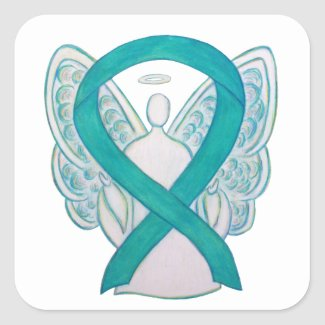 Teal Awareness Ribbon Custom Angel Sticker Decals