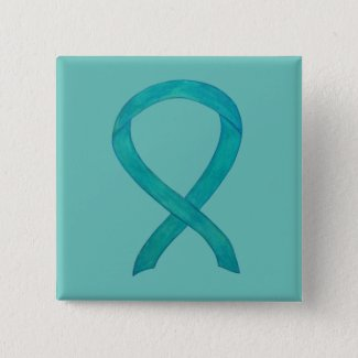 Teal Awareness Ribbon Custom Art Lapel Pin