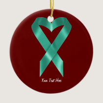 Teal Awareness Ribbon (customizable) Ceramic Ornament
