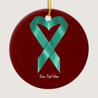 Teal Awareness Ribbon (customizable) Ceramic Ornament
