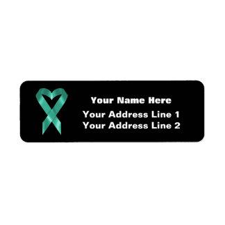 Teal Awareness Ribbon (customizable) Label