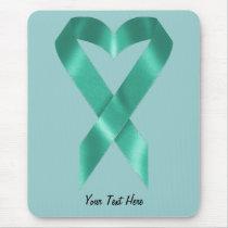 Teal Awareness Ribbon (customizable) Mouse Pad