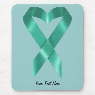 Teal Awareness Ribbon (customizable) Mouse Pad
