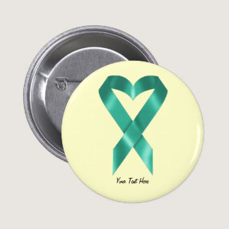 Teal Awareness Ribbon (customizable) Pinback Button