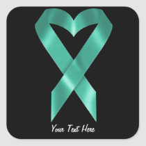 Teal Awareness Ribbon (customizable) Square Sticker