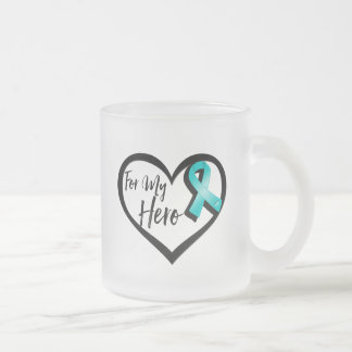 Teal Awareness Ribbon For My Hero Frosted Glass Coffee Mug