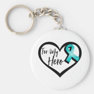 Teal Awareness Ribbon For My Hero Keychain