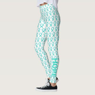 Teal Awareness Ribbon Hope & Cure Custom Leggings