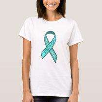 Teal Awareness Ribbon Hope Faith Strength T-Shirt