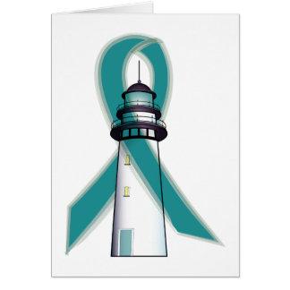 Teal Awareness Ribbon Lighthouse of Hope Card