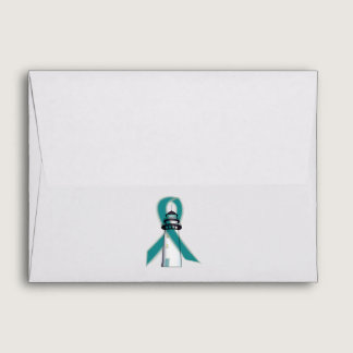 Teal Awareness Ribbon Lighthouse of Hope Envelope