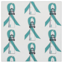 Teal Awareness Ribbon Lighthouse of Hope Fabric