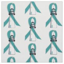 Teal Awareness Ribbon Lighthouse of Hope Fabric