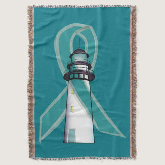 Teal Awareness Ribbon with Lighthouse of Hope Throw Blanket