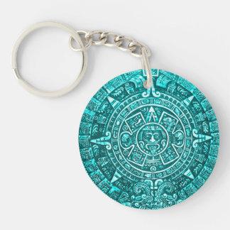 Teal Aztec Calender Key Chain