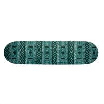 Teal Aztec Pattern Skateboard Deck