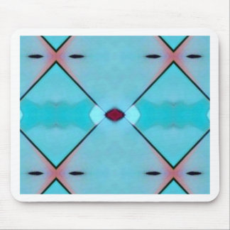 Teal Baby Blue Geometric Criss-cross Pattern Mouse Pad