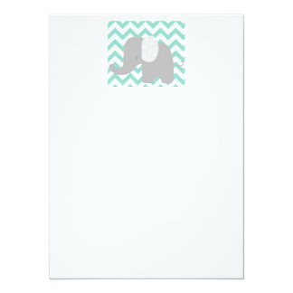 Teal Baby Elephant Shower 5.5x7.5 Paper Invitation Card