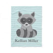 Teal Baby Raccoon Fleece Blanket