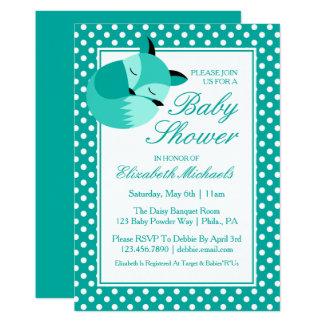 Teal Baby Shower Fox Card