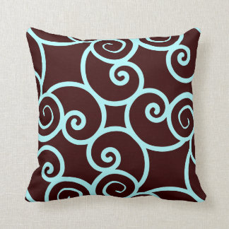 teal background and brown abstract pattern pillow
