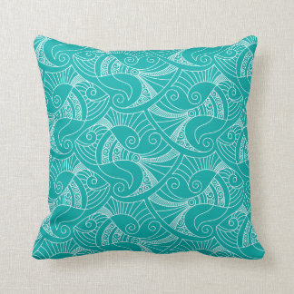 teal background fish pattern   pillow