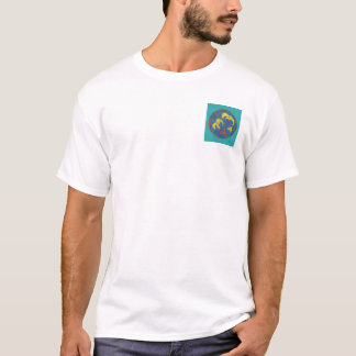 Teal background flowers in a ring T-Shirt