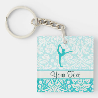 Teal Ballet Double-Sided Square Acrylic Keychain