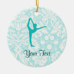 Teal Ballet Double-Sided Ceramic Round Christmas Ornament