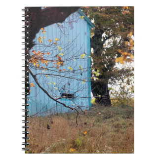 Teal Barn In Fall Notebook