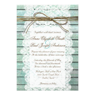 Teal Barn Wood and Lace Wedding Invitations Personalized Announcements