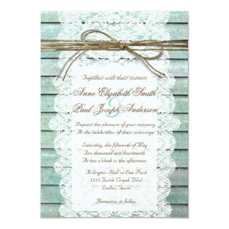Teal Barn Wood and Lace Wedding Invitations